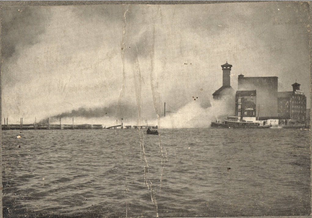 February 8th, 1904 - Fireboat Cataract spraying water on East Pratt Street Wharves preventing the spread of the Great Fire of Baltimore from jumping the Jones Falls.