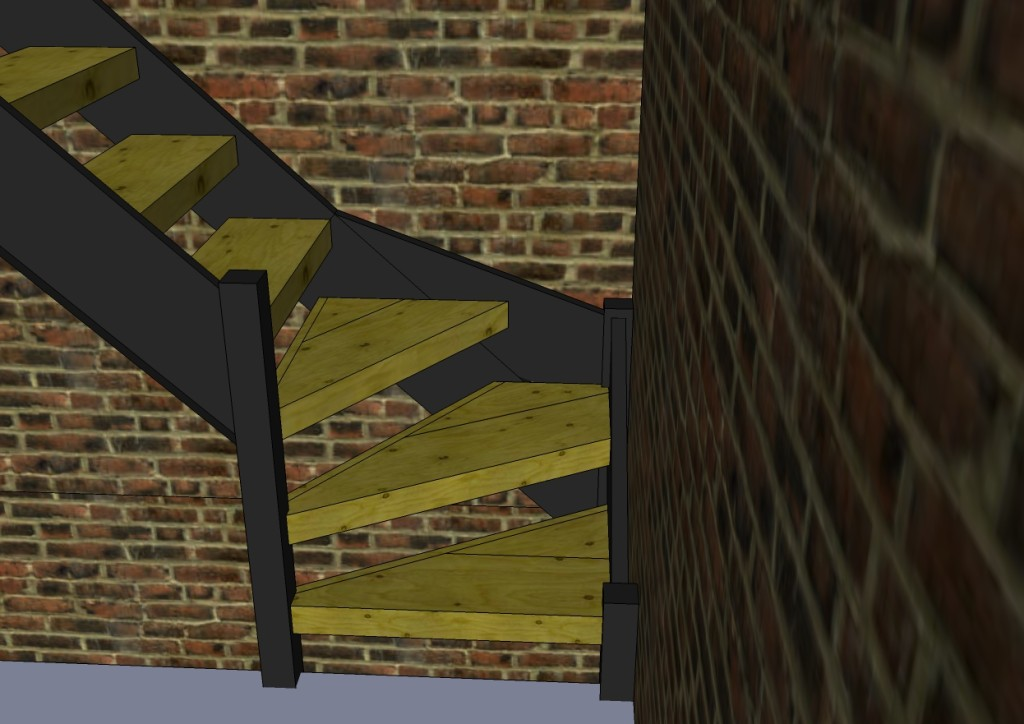 Visualizing the 3 corner stairs was hard so I drew it up in Sketchup.